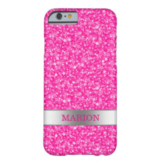 Modern Hot Pink Glitter Pattern Barely There iPhone 6 Case