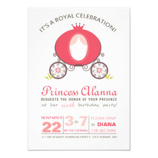 Modern Hot Pink Princess Carriage Invitation