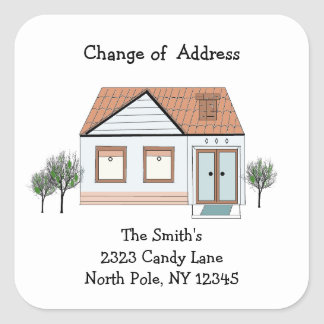 Modern House Change of Address Square Sticker