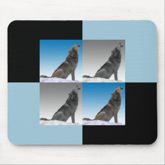 Modern Howling Wolf Pop Art Squares Mouse Pad