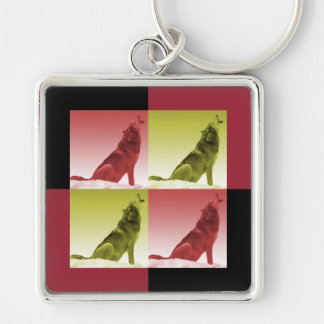 Modern Howling Wolf Pop Art Squares Silver-Colored Square Key Ring