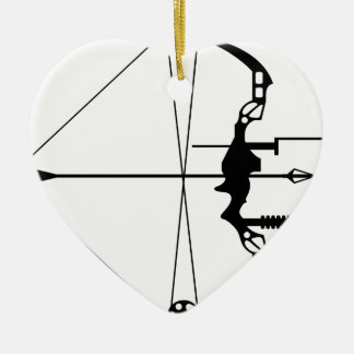 Modern Hunting Bow and Arrow Ceramic Heart Decoration