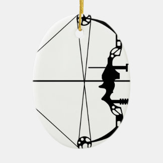 Modern Hunting Bow and Arrow Ceramic Oval Decoration