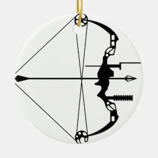 Modern Hunting Bow and Arrow Christmas Ornament