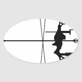 Modern Hunting Bow and Arrow Oval Sticker