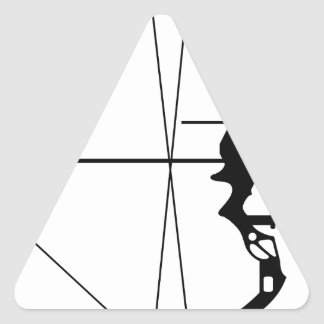 Modern Hunting Bow and Arrow Triangle Sticker
