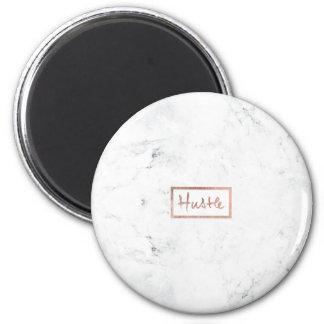 Modern hustle typography rose gold white marble 6 cm round magnet