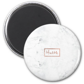 Modern hustle typography rose gold white marble magnet