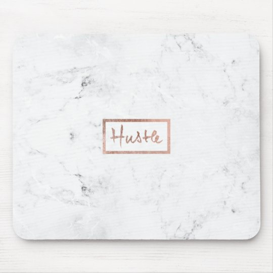 Modern hustle typography rose gold white marble mouse mat