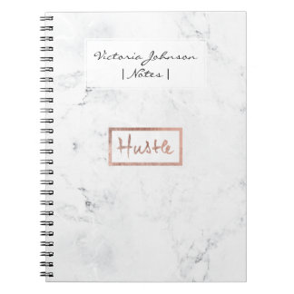 Modern hustle typography rose gold white marble notebooks