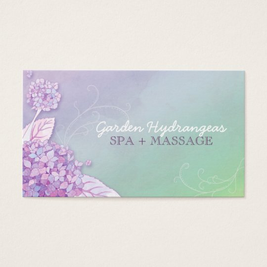 Modern Hydrangeas Spa + Massage Business Cards