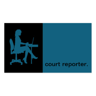 Modern Icon Silhouette court reporter | blue Business Card Templates