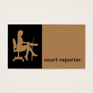 Modern Icon Silhouette court reporter | tan Business Card