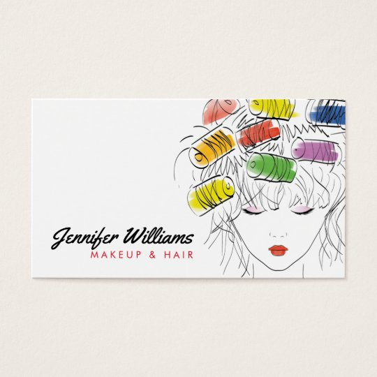 Modern Illustrated Hairstylist Makeup Beauty Salon Business Card