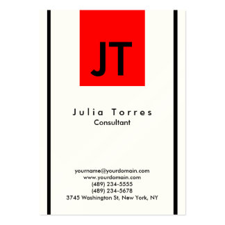 Modern Indestructible Black White Red Monogram Pack Of Chubby Business Cards
