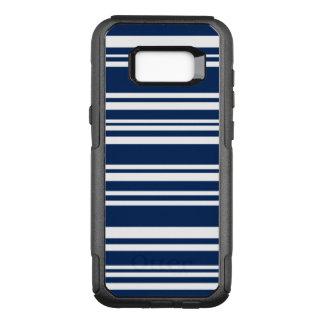 Modern Indigo and White Stripes OtterBox Commuter Samsung Galaxy S8+ Case