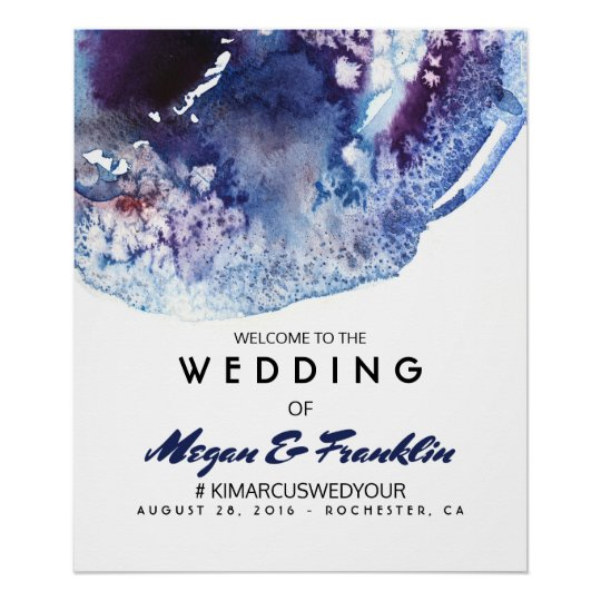 Modern Indigo Watercolor Wedding Welcome Sign