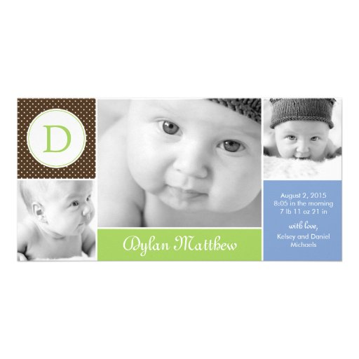 Modern Initial Baby Boy Birth Announcement Photo Cards