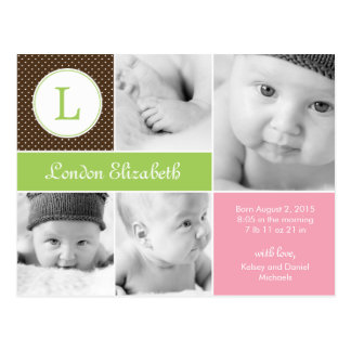 Modern Initial Birth Announcement - Pink Postcards