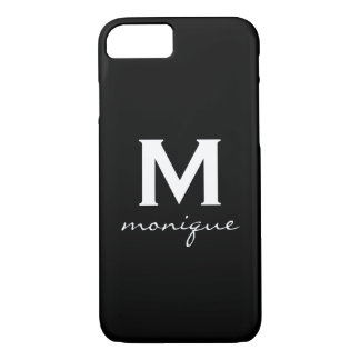 Modern Initial Monogram - Classic Black and White iPhone 7 Case
