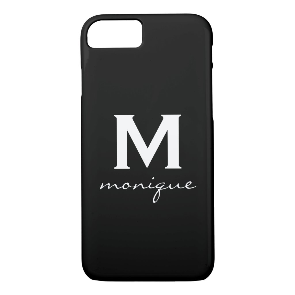 Modern Initial Monogram - Classic Black and White iPhone 8 case