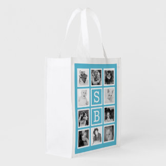 Modern Initials and Instagram Photo Collage Reusable Grocery Bag