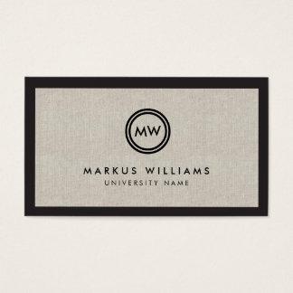 Modern Initials Black and Linen Graduate Student Business Card