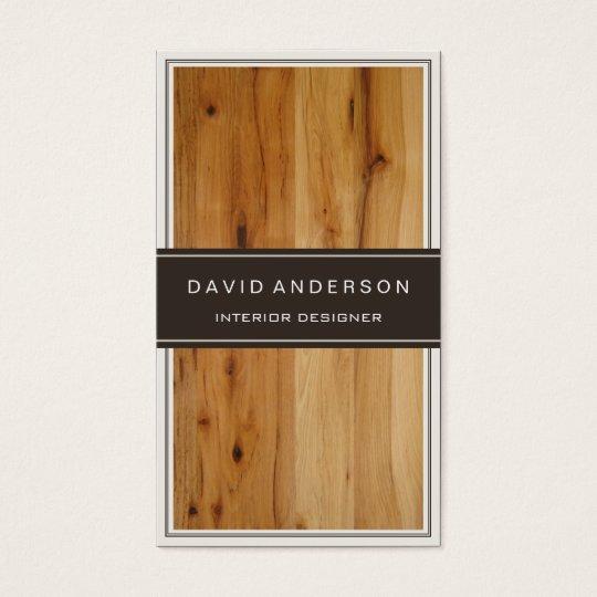 Modern Interior Design Stylish Wood Grain Business Card