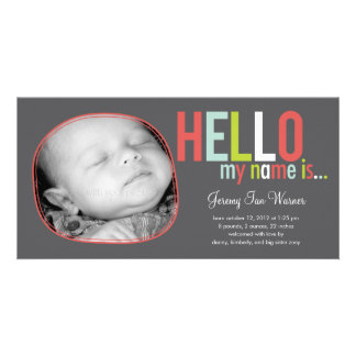 Modern Introduction Baby Birth Announcement Photo Card
