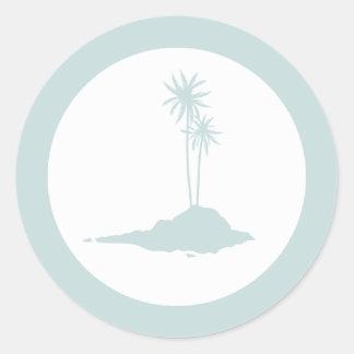 Modern Island Palm Trees Beach Sticker - Blue