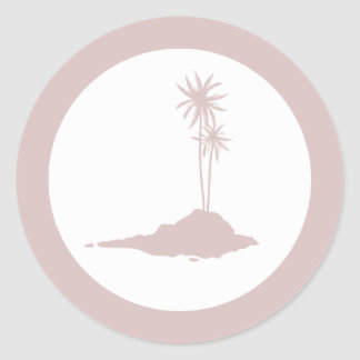 Modern Island Palm Trees Beach Sticker - Blush