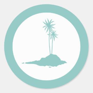 Modern Island Palm Trees Beach Sticker - Teal