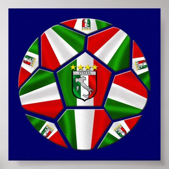 Modern Italian Soccer ball panels artwork sports Poster
