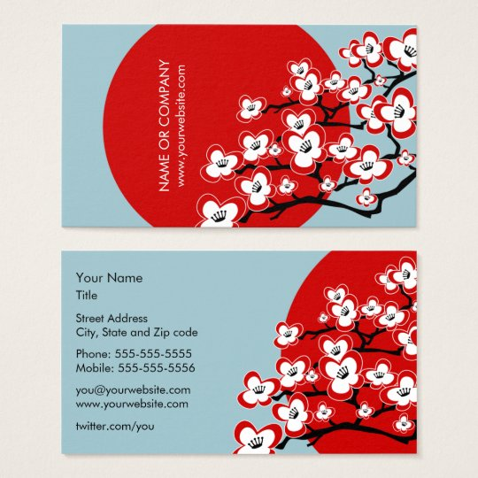 Modern Japanese Cherry Blossom Business Card