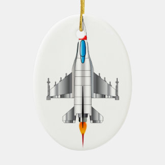 Modern Jet Fighter Plane Ceramic Oval Decoration