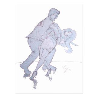 Modern Jive Ceroc Competition Dancers Post Card