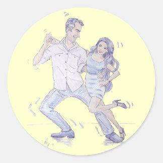 Modern Jive Ceroc Dancers Round Sticker