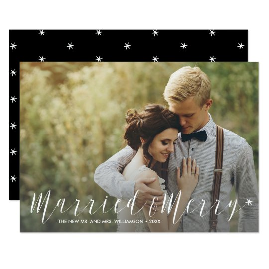 Modern Just Married and Merry Starry Holiday Photo