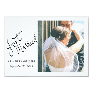 Modern Just Married Typography Wedding Photo Card