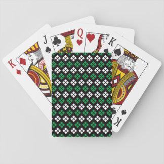Modern Kelly Green & White Argyle Pattern on Black Playing Cards
