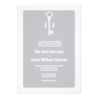 Modern Key Monogram Wedding Invitation - Chevron
