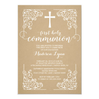 Modern Kraft First Holy Communion Invitation