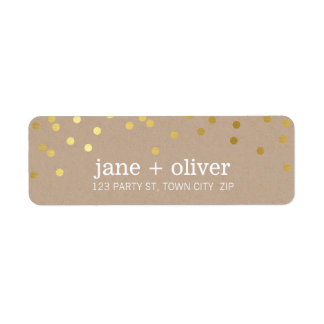 MODERN LABEL cute confetti spots gold eco kraft Return Address Label