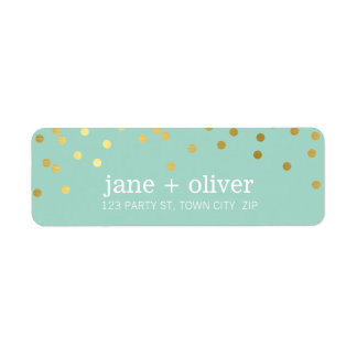 MODERN LABEL cute confetti spots gold trendy mint Return Address Label