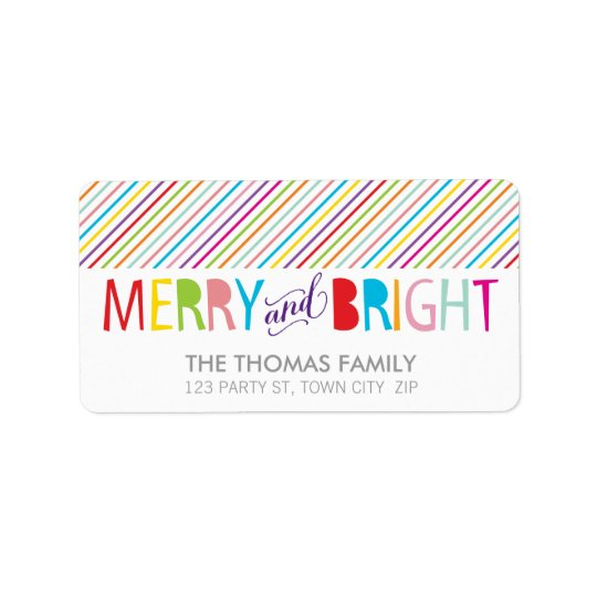 MODERN LABEL merry & bright bold colourful type Address Label