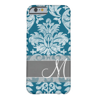 Modern Lace Damask Pattern - Blue and Gray Barely There iPhone 6 Case