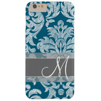 Modern Lace Damask Pattern - Blue and Gray Barely There iPhone 6 Plus Case