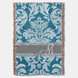 Modern Lace Damask Pattern - Blue and Gray Throw Blanket