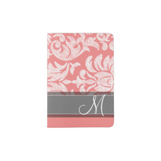 Modern Lace Damask Pattern - Coral and Gray Passport Holder