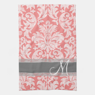 Modern Lace Damask Pattern - Coral and Gray Towel